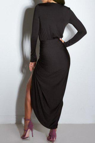 Sexy Plunging Neck Ruffled Long Sleeve Dress For Women от Rosegal.com INT