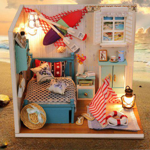 Fashion Creative DIY Wooden Miniature Doll House Furniture Toy Handmade Room Model Practical Birthday Gift - SIZE 2 AS THE PICTURE Mobile