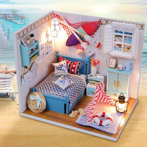 Unique Creative DIY Wooden Miniature Doll House Furniture Toy Handmade Room Model Practical Birthday Gift - SIZE 2 AS THE PICTURE Mobile