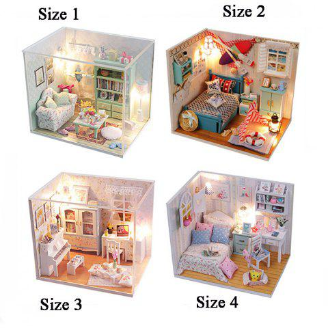 Outfit Creative DIY Wooden Miniature Doll House Furniture Toy Handmade Room Model Practical Birthday Gift - SIZE 2 AS THE PICTURE Mobile