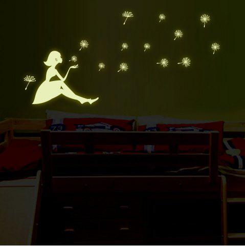 Unique Dandelion and Girl Style Fluorescent Wall Stickers Funny Luminous Wallpaper for Home Decorations