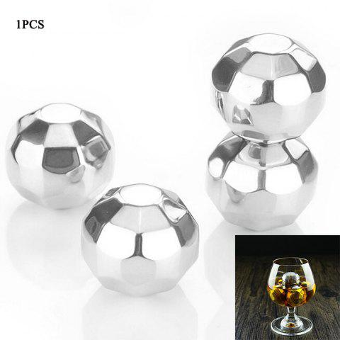 1PCS Environmental 304 Stainless Steel Polygon Ball Ice Hockey for Drinks - SILVER