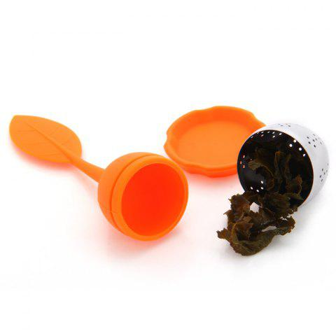Silicone Handle Leaf Tea Infuser Steel Ball Strainer with Drip Tray - Orange