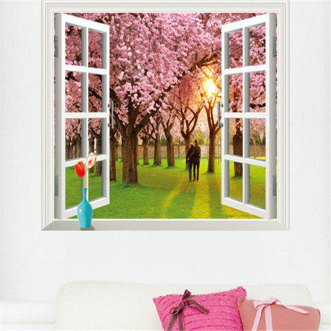 Unique 3D Romantic Cherry Tree Style Removable PVC Wall Stickers Colorful Room Window Decoration