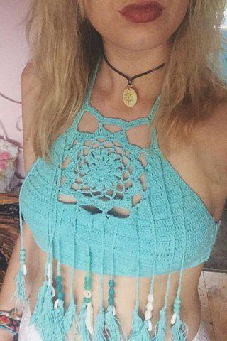 Sexy Halter Neck Backless Knitted Women's Crop Top - BLUE ONE SIZE(FIT SIZE XS TO M)