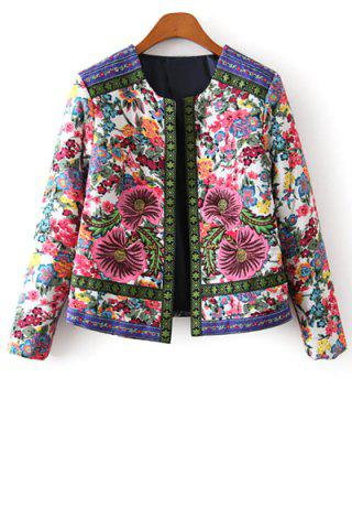 Cheap Stylish Long Sleeves Flower Print Embroidery Jacquard Women's Jacket