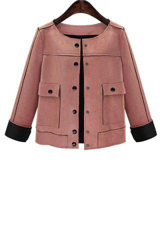 Stylish Round Collar Long Sleeves Solid Color Women's Suede Jacket - Pink - 2xl