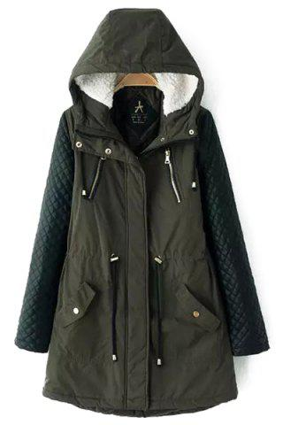 Discount Stylish Hooded Long Sleeve Quilting Faux Leather Spliced Women's Coat ARMY GREEN 5XL