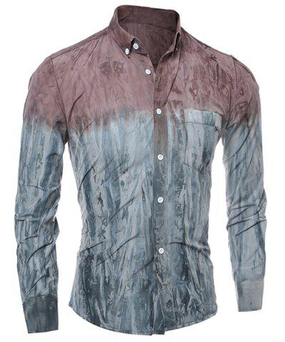 Chic 3D Tie-Dye Abstract Pattern One Pocket Slim Fit Shirt Collar Long Sleeves Men's Ombre Button-Down Shirt - 2XL RED Mobile