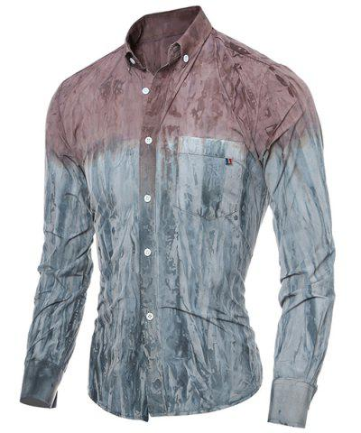 Discount 3D Tie-Dye Abstract Pattern One Pocket Slim Fit Shirt Collar Long Sleeves Men's Ombre Button-Down Shirt - 2XL RED Mobile