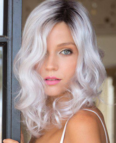 Best Ladylike Medium Shaggy Curly Vogue Black Ombre Silvery White Middle Part Synthetic Wig For Women