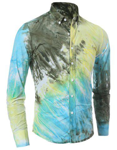 Outfit Long Sleeve Pocket Tie Dye Design Button Down Shirt
