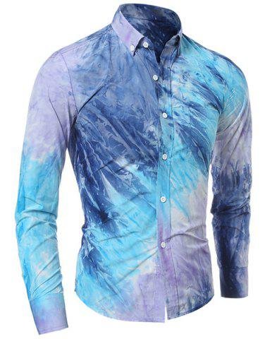 Affordable Long Sleeve Pocket Tie Dye Design Button Down Shirt - L BLUE Mobile