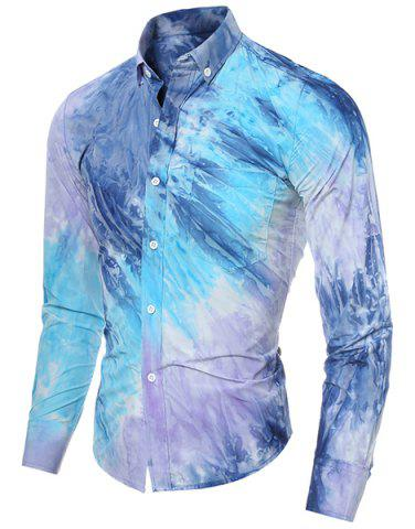 Fancy Long Sleeve Pocket Tie Dye Design Button Down Shirt - L BLUE Mobile