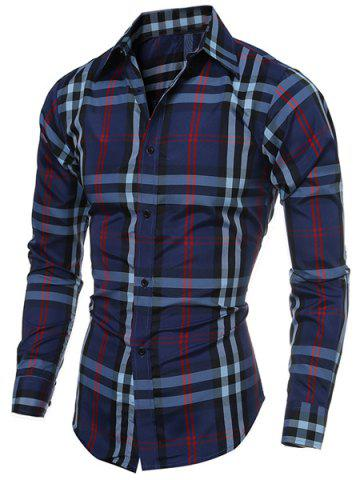 Classic Color Block Plaid Print Multi-Button Slimming Shirt Collar Long Sleeves Men's Shirt - Cadetblue - Xl