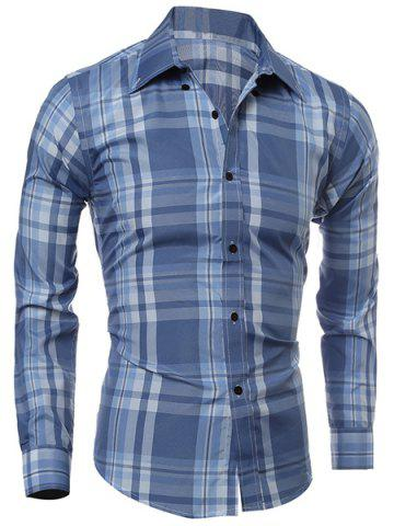 Unique Classic Color Block Plaid Print Multi-Button Slimming Shirt Collar Long Sleeves Men's Shirt LIGHT BLUE M