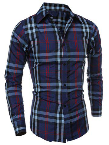 Fashion Classic Color Block Plaid Print Multi-Button Slimming Shirt Collar Long Sleeves Men's Shirt CADETBLUE L