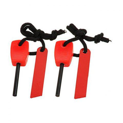 Unique 2pcs Outdoor Survival Tool Multifunctional Fire Starter with Scraper - RED  Mobile