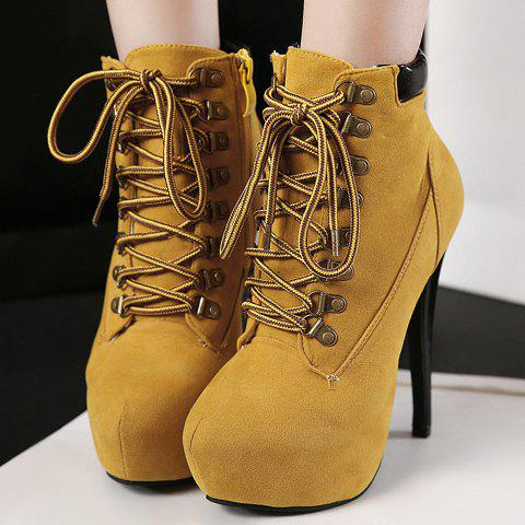 Online Party Suede and Criss-Cross Design Women's High Heel Boots