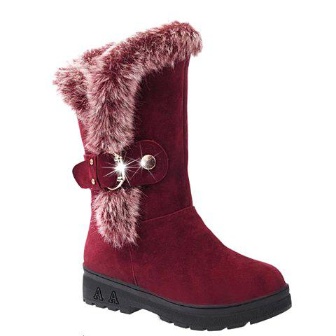 Buckled Fur Trimmed Mid-calf Boots - Wine Red - 39