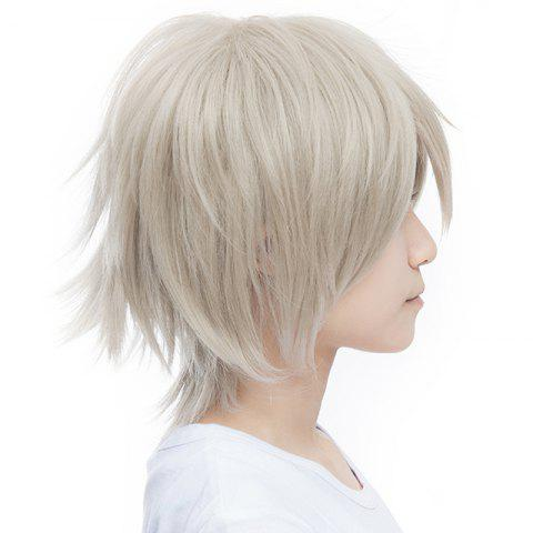 Unique Outstanding Fluffy Straight Vogue Short Haircut Synthetic Miketsukami Soushi Cosplay Wig - SILVER GRAY  Mobile