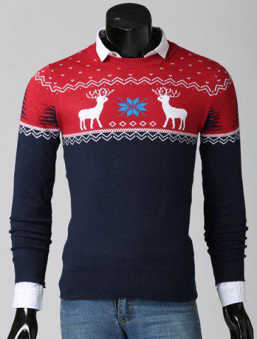 Cheap Color Spliced Christmas Snowflake Deer Jacquard Round Neck Long Sleeves Men's Thicken Sweater