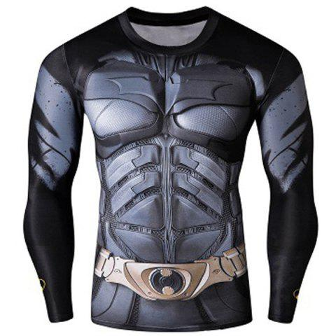 Quick-Dry Skinny Cool 3D Batman Pattern Round Neck Long Sleeves Men's Superhero T-Shirt - Colormix - 2xl