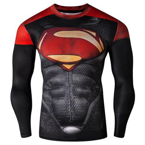 Cool 3D Superman Pattern Color Block Skinny Round Neck Long Sleeves Men's Quick-Dry T-Shirt - Colormix - Xl