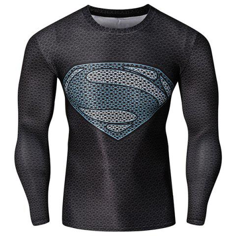 Fashion Round Neck 3D Superman Pattern Skinny Quick-Dry Long Sleeves Men's Superhero T-Shirt - Colormix - L