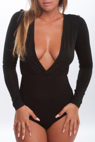 Latest Stylish Plunging Neck Long Sleeves Pure Color Women's Bodysuit