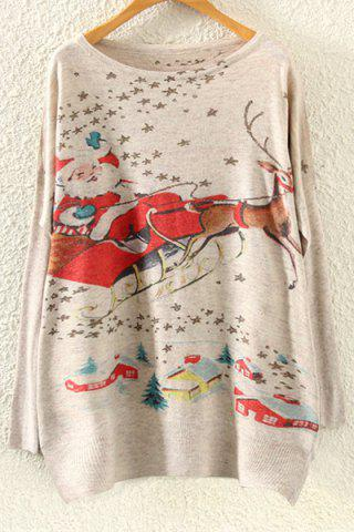 Shop Long Sleeve Christmas Deer Jumper - ONE SIZE(FIT SIZE XS TO M) BEIGE Mobile