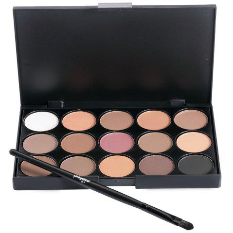 Online 15 Colors Girl Makeup Natural Eye Shadow Palette with Brush JET BLACK 01#