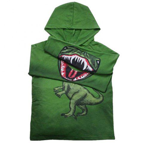 Chic Fashionable Long Sleeve Dinosaur Print Hoodie For Boy - 130 GREEN Mobile
