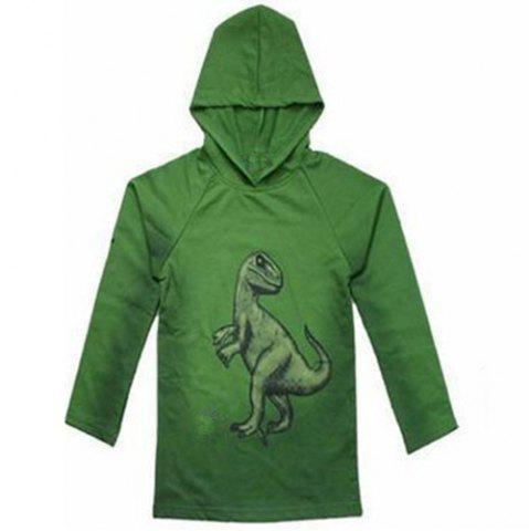Latest Fashionable Long Sleeve Dinosaur Print Hoodie For Boy - 130 GREEN Mobile