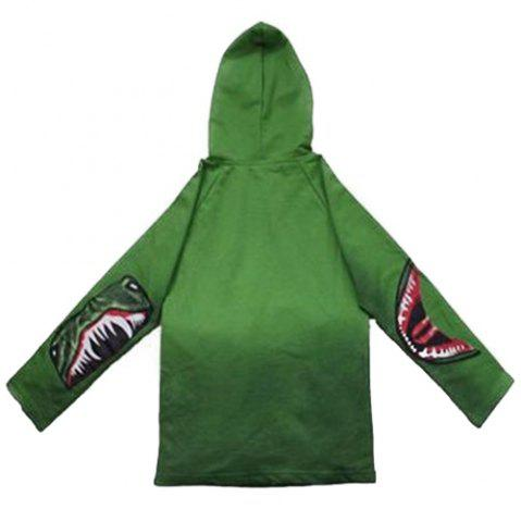 Outfits Fashionable Long Sleeve Dinosaur Print Hoodie For Boy - 130 GREEN Mobile