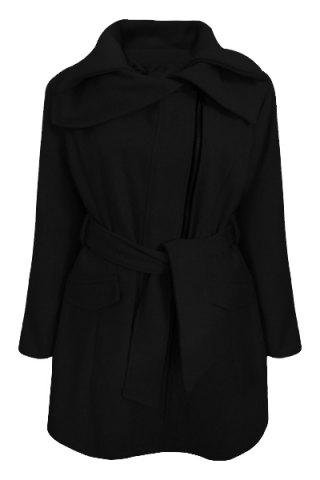 Stylish Turn-Down Collar Long Sleeve Zip Up Spliced Women's Belted Coat - Black - M