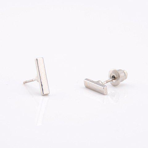 Trendy Pair of Simple Style Pure Color Stud Earrings For Women - SILVER  Mobile