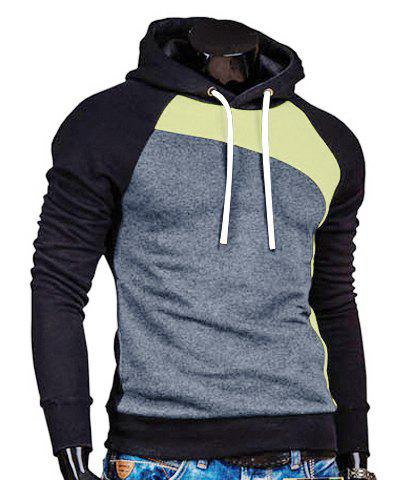 Trendy Hooded Slimming Personality Color Splicing Long Sleeves Men's Thicken Hoodies