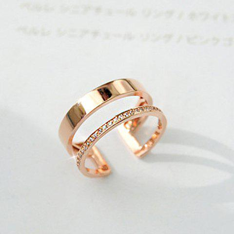 Latest 1PC Rhinestone Hollow Out Two Layered Cuff Ring