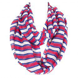 Chic Various Size Stripe Pattern Loop Infinity Voile Scarf For Women