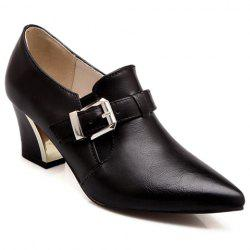 Fashionable Buckle and Elastic Design Women's Pumps - BLACK