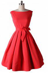 Noble Round Neck Sleeveless Solid Color Bowknot Embellished Women's Dress