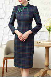 Vintage Mandarin Collar Plaid Long Sleeve Bodycon Dress For Women