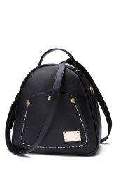 Vintage Metal and Stitching Design Women's Satchel - BLACK
