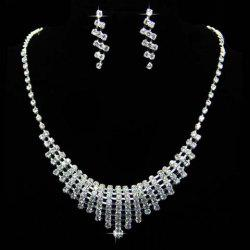 A Suit of Vintage Rhinestoned Hollow Out Pendant Necklace and Earrings -