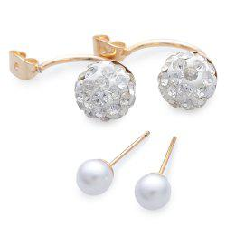 Pair of Round Rhinestone Allou Earring Jackets - GOLDEN