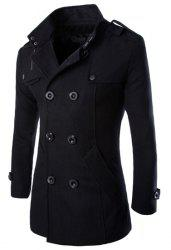 Turn-Down Collar Epaulet Design Double Breasted Long Sleeve Woolen Men's Peacoat - BLACK