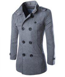 Turn-Down Collar Epaulet Design Double Breasted Long Sleeve Woolen Men's Peacoat - GRAY