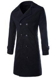 Turndown Collar Woolen Longline Peacoat - BLACK