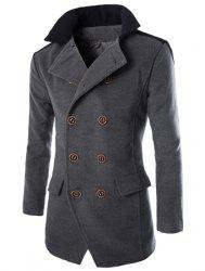 Color Block Spliced Turn-Down Collar Double Breasted Long Sleeve Woolen Men's Peacoat - GRAY